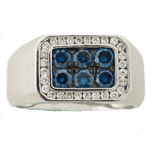 Mens Blue & White Diamond Ring