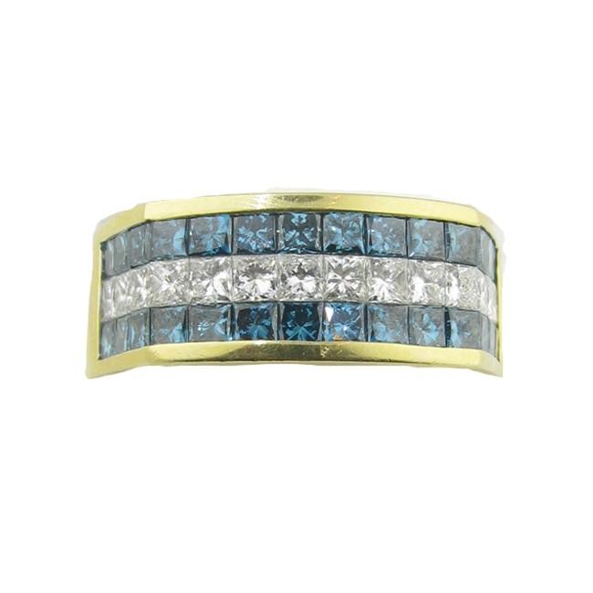 Men's Blue & White Diamond Ring