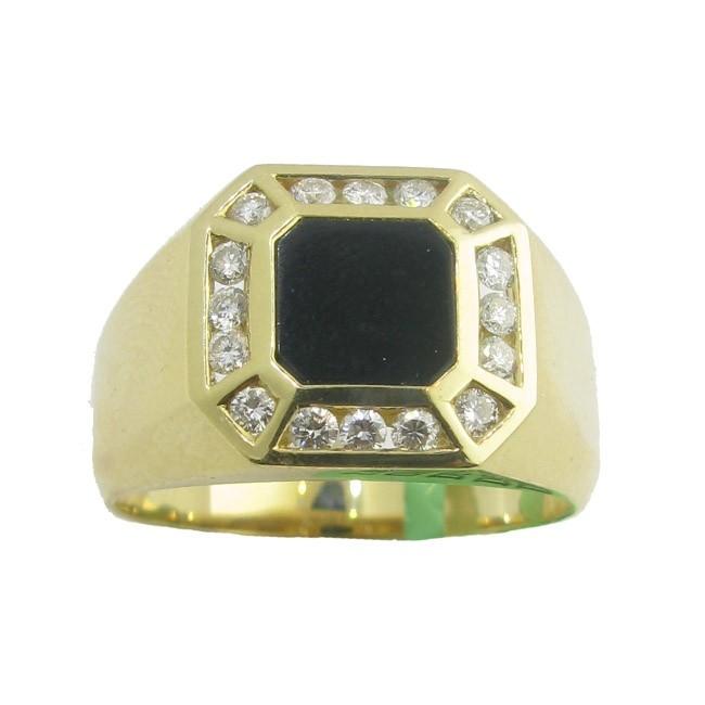 Mens Black Onyx & Diamond Ring