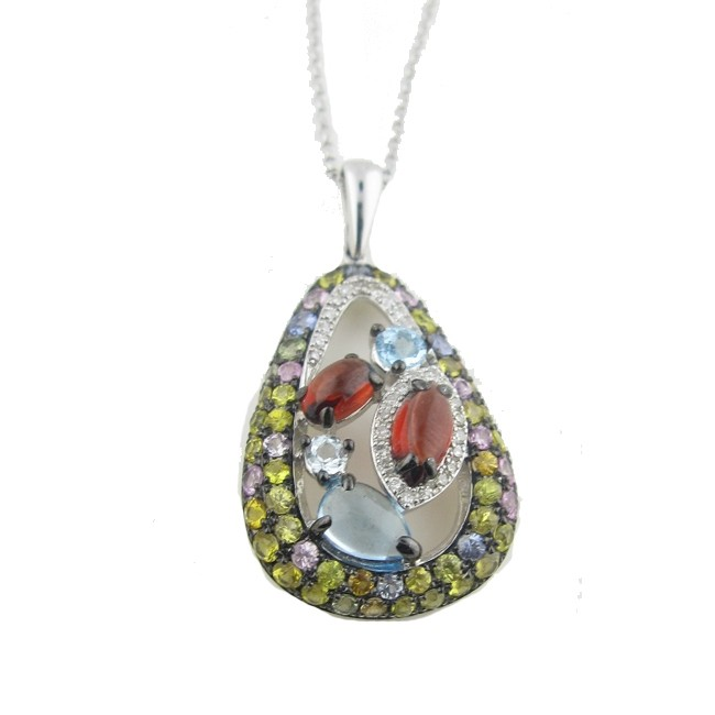 Multi colored Sapphire and gemstone, diamond necklace