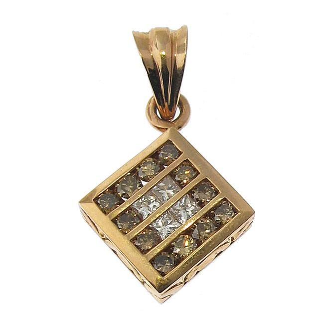 Brown and White Diamond Pendant