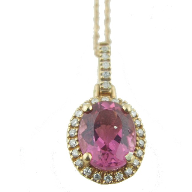 Pink Topaz & Diamond Necklace