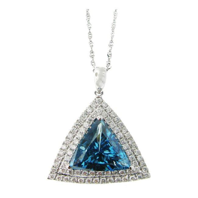 Trillion shape Blue and White Diamond Pendant