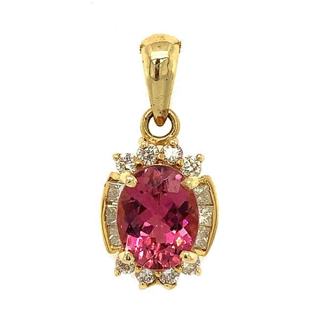 Pink Topaz & Diamond Pendant