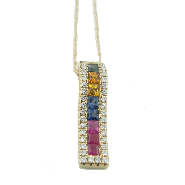 Multi -colored Sapphire & Diamond Pendant