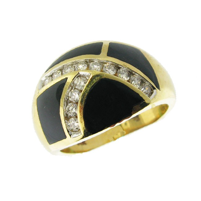 Black Onxy and Daimond Ring