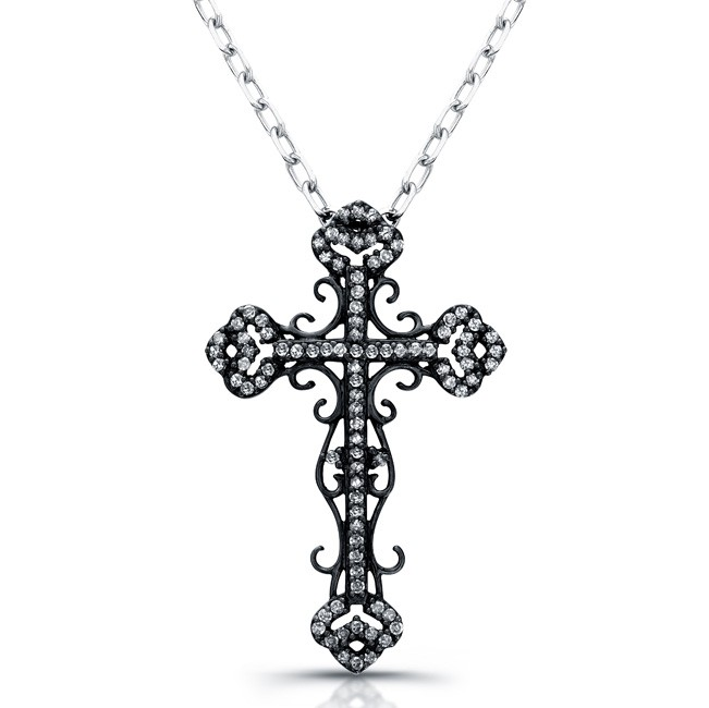 Black Sterling Silver Vintage Diamond Cross Pendant