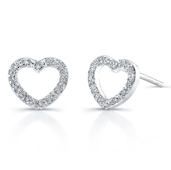 Sterling Silver Diamond Heart Earrings