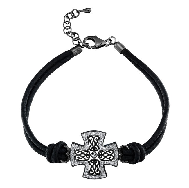 Black Sterling Silver Diamond Cross Leather Bracelet