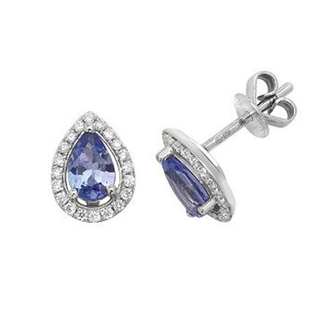 Tanzanite & Diamond Stud Earrings