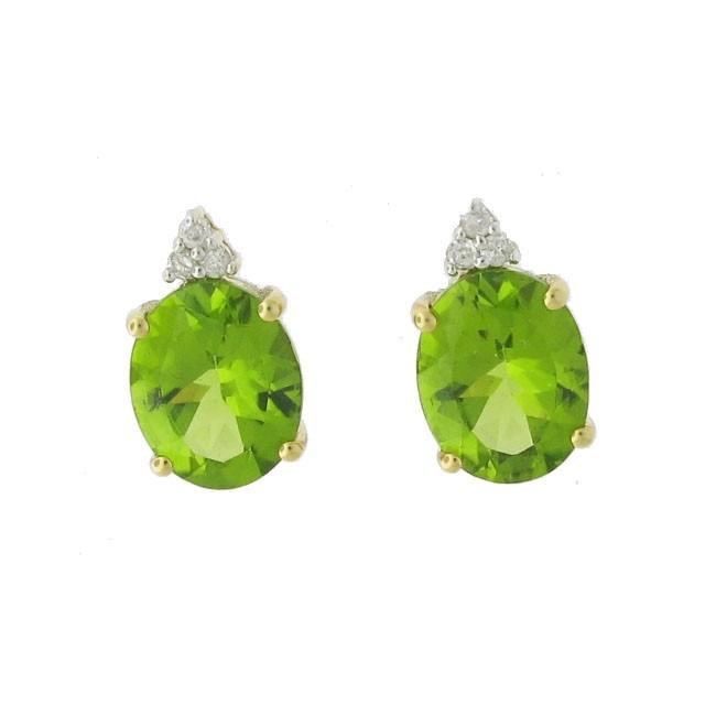 Peridot and diamond Studs