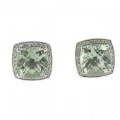 Green Amethyst & Diamond Earrings