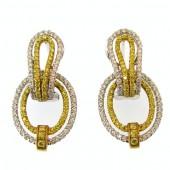 Fancy Yellow & White Diamond Earrings