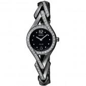 Seiko Womens Solar Crystal Analog Stainless Black Watch