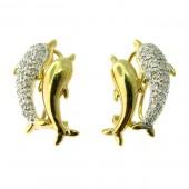 Diamond Dolphin Earrings
