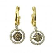 Toffee Brown& White Diamond drop Earrings