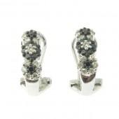 Black & White Flower Cluster Diamond Earrings