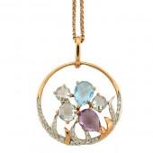 Multi Colored Gemstone & Diamond Necklace