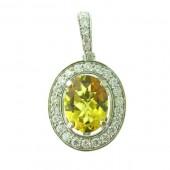 Yellow Emerald & Diamond Pendant