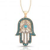 14k Rose Gold Diamond and Turquoise Hamsa Pendant
