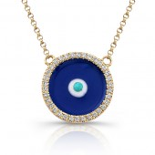 14k Yellow Gold Diamond Enamel Evil Eye Necklace