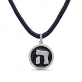 14k White Gold Diamond Hebrew Letter Black Enamel Disk Necklace
