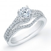 14k White Gold Split Shank Diamond Bridal Set