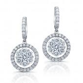 14kt White Gold Eternal Diamond Cluster Earrings
