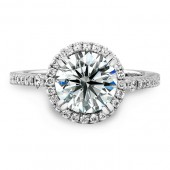 14k White Gold Halo Diamond Engagement Semi Mount Ring