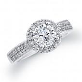 14k White Gold Diamond Halo Engagement Ring Semi Mount