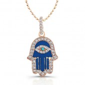14k Rose Gold Diamond Blue Enamel Hamsa Pendant