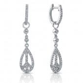 14k White Gold Peace Diamond Earrings