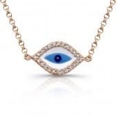 14k Rose Gold Diamond Evil Eye Enamel Necklace