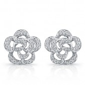 14k White Gold Flower Diamond Earrings