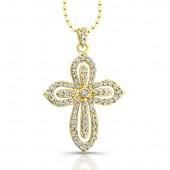 14k Yellow Gold Diamond Cut-Out Cross Pendant