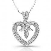14k White Gold Mini Heart Antique Pendant