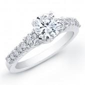 14k White Gold Diamond Beveled Engagement Ring With Side Diamonds