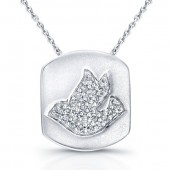 14k White Gold Pave Dove Pendant