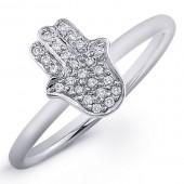 14k White Gold Pave Diamond Hamsa Ring