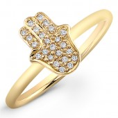 14k Yellow Gold Pave Diamond Hamsa Ring