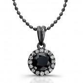 14k Black Gold Black Diamond Halo Pendant