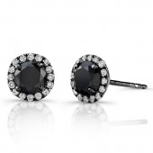 14k Black Gold Stud Earrings with White Diamond Halo and Black Diamond Center