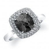 14k White Gold Rose Cut Black Diamond Double Halo Ring