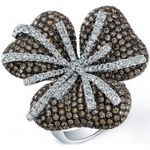 14k White Gold Pave Brown Diamond Flower Ring