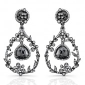 18k Black Gold Rose Cut Black Diamond Chandelier Drop Earrings