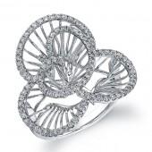 14k White Gold Diamond Wire Flower Ring
