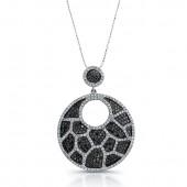 14k White Gold Black and White Diamond Animal Print Chandelier Pendant