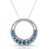 14k White Gold Treated Blue Diamond Halo Double Circle Pendant