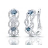 14k White Gold Treated Blue Diamond Wave Earrings