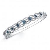 14k White Gold Treated Blue Diamond Wave Bangle